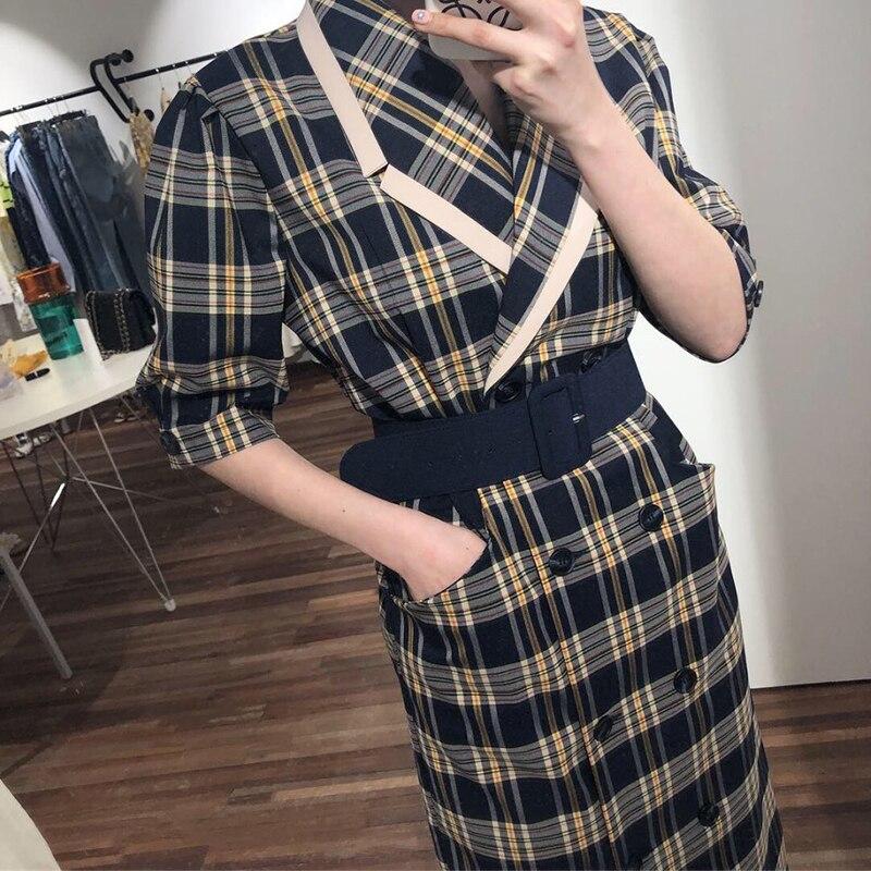 TVVOVVIN 19 Turn-down Collar Half Sleeve Korean Fashion Slim Waist With Belt Patchwork Color Women Korean Dress Tide X139 2