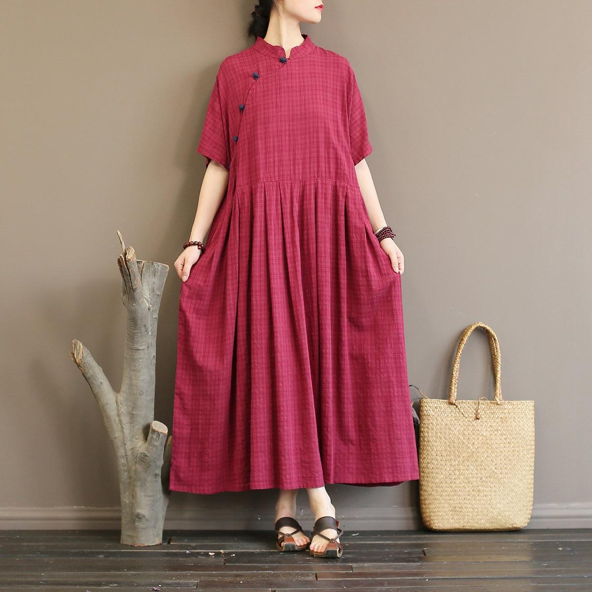 Women National Vintage Style Long Dresses Stand Collar Plate Buckle Summer High Waist Half Sleeve Loose Dresses 1