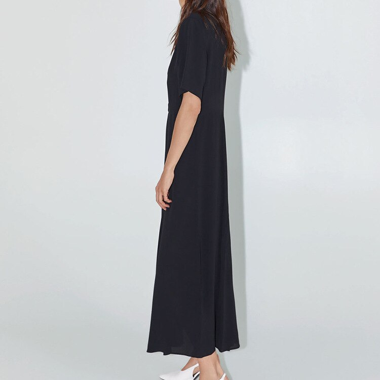 19 Dress Womens Summer Fashion Concise Casual Turn-down collar half Sleeve dress single breasted A Line black long dress 2