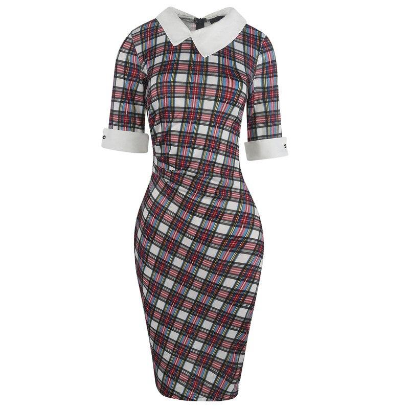 Fmasuth Plaid Dresses for Women Half Sleeve Knee Length Office Business Elegant Office Clothing Dress ox276-1 3
