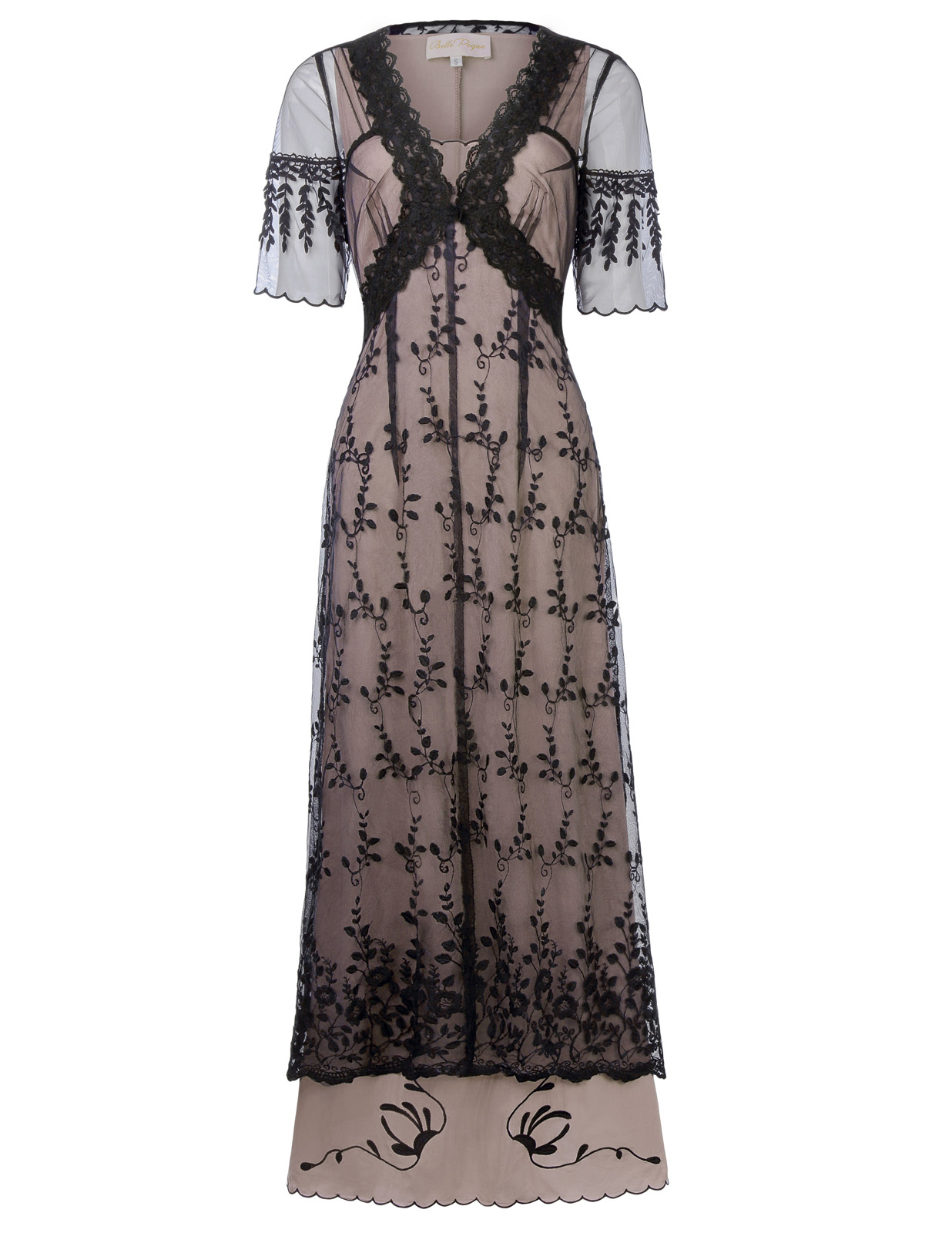 Lolita floral Embroidery Mesh ankle length ladies dress Sexy Women Retro Vintage Victorian Style Half Sleeve V-Neck Lace Dresses 3