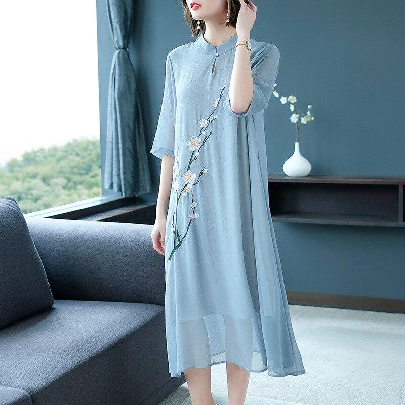Women Dress Chinese Retro Style Plum Blossom Embroidery Summer Large Size Chiffon Dress Half Sleeve Knee-Length Collar Dresses 2