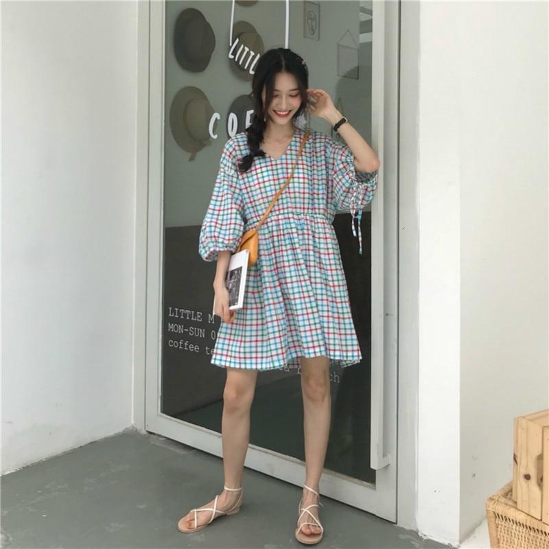 Women Summer Mini Plaid Cotton Dress V-neck Puff Sleeves High Waist Short Vestidos Drawstring Casual Robe Femme Sukienki Jurken 3
