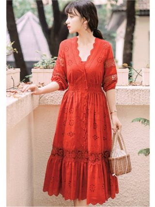 19 summer Women's Bohemian half Sleeve Mesh Stitching Dress Sexy Deep V-neck High Waist Openwork Embroider Dress