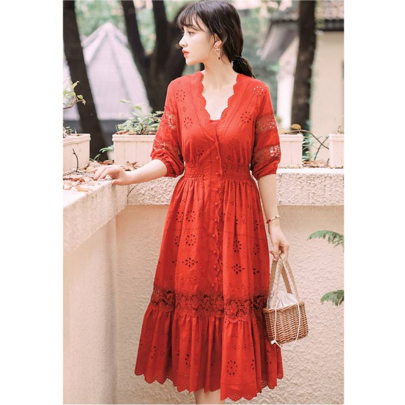 19 summer Women's Bohemian half Sleeve Mesh Stitching Dress Sexy Deep V-neck High Waist Openwork Embroider Dress