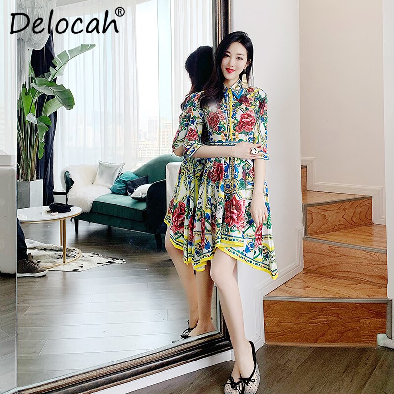 Delocah 19 Women Spring Summer Dress Runway Fashion Designer Half Sleeve Floral Print Beading Asymmetric Slim Elegant Dresses 3