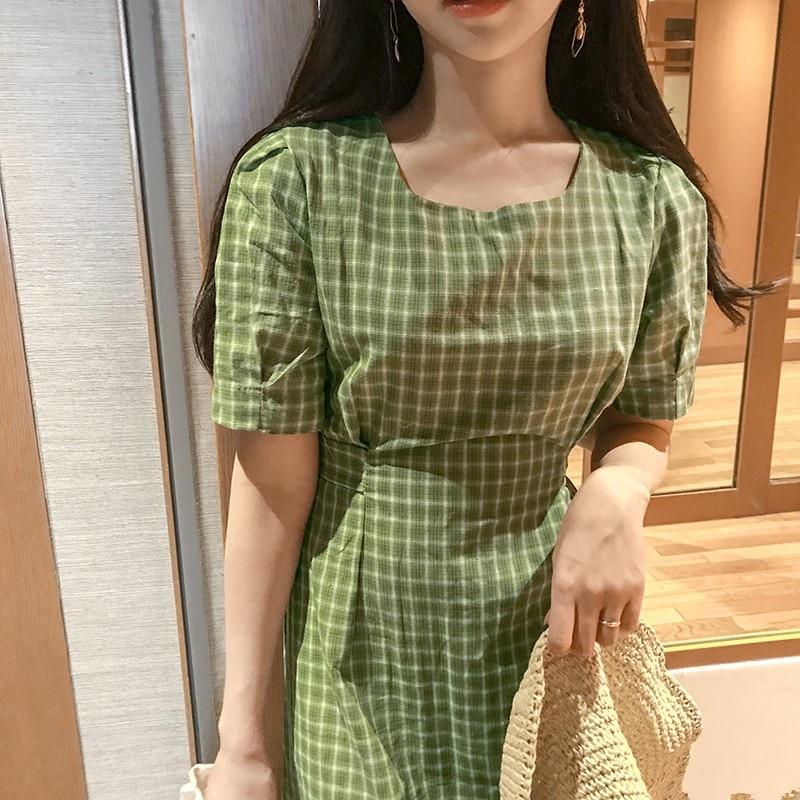 new Summer Dress Women Cotton Linen OL Casual half Sleeve Dresses Female Dress o neck plaid yellow dress Boho Robe Femme Vestido 3