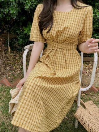 new Summer Dress Women Cotton Linen OL Casual half Sleeve Dresses Female Dress o neck plaid yellow dress Boho Robe Femme Vestido