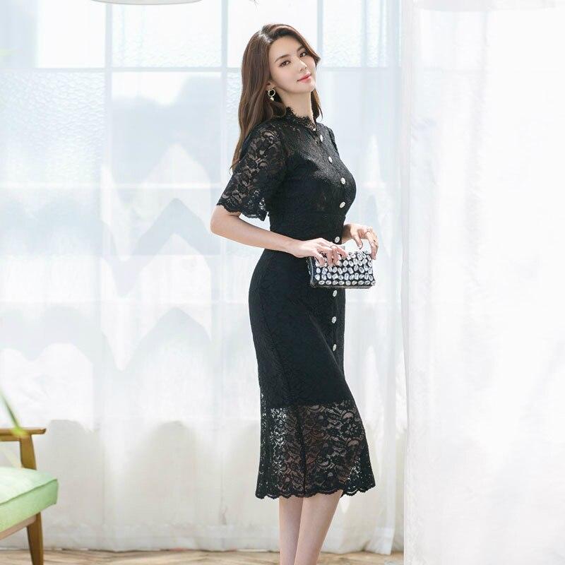 Big Size Black Evening Party Dress Women Half Sleeve Singer Button Wrap Lace Dress Women Sheath Vintage Dinner Dress for Women