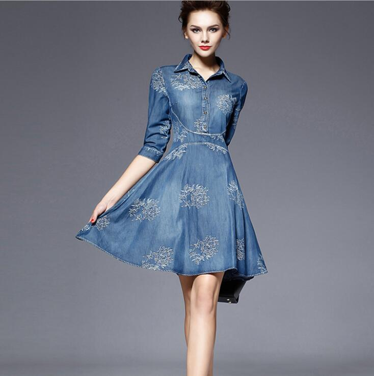 Autumn Vestidos Elegant Slim Half Sleeve Vintage Embroidery Denim Dresses 5XL Plus Size Women 3