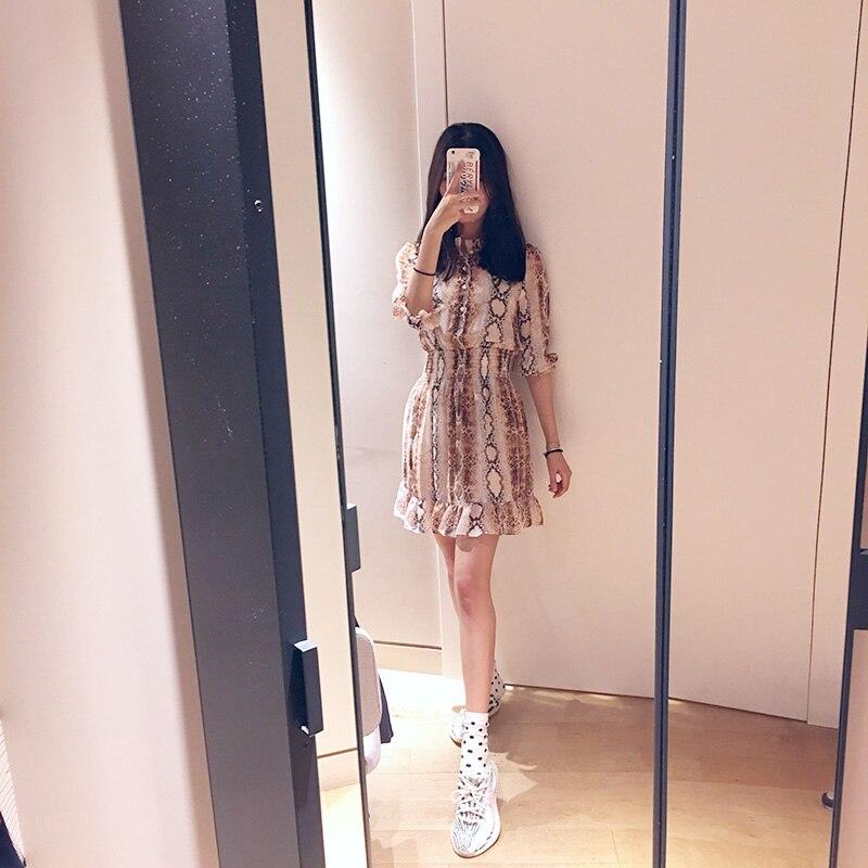 Women Mini Pleated Dress Snake Print Ruffle Half Sleeve Sweet Dress 3