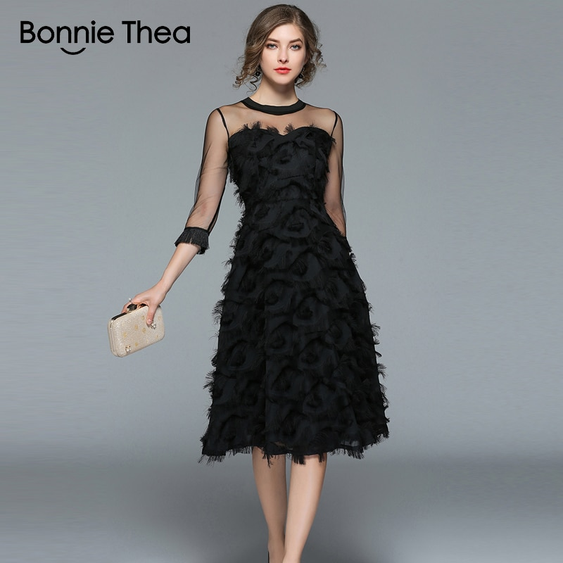 18 Autumn woman black Tassel Mesh Patchwork long dress female Sexy half Sleeve feather dress party Club lady dresses 1