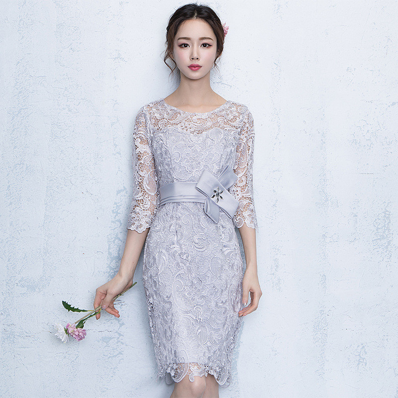 Lace Party Dresses New Sheath Column Jewel Knee-length Formal Dress Half Sleeves Cocktail Date Dress Elegant Vestidos 1