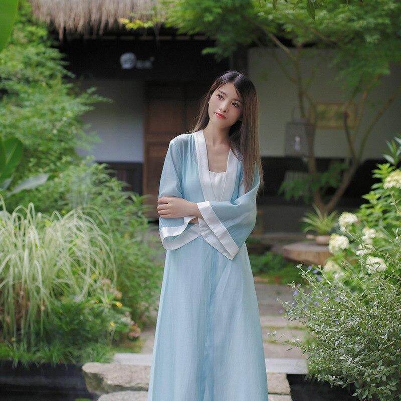 19 Autumn Chinese Retro Style Big V Collar Women White Blue Straight Dress Tea Suit Half Flare Sleeve Loose Dress Hanfu 2