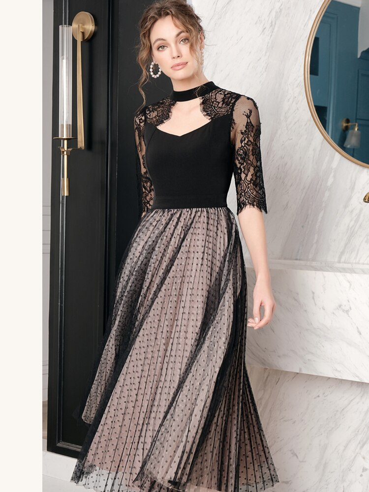 19 Spring Summer Original Design of Intellect and Elegant Dot Patchwork Lace Hollow Mesh Heavy Half Sleeve Woman Maxi Dress 2