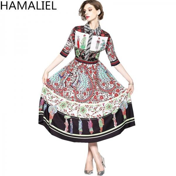 HAMALIEL Vestidos Summer Dress 18 Runway Turn Down Collar Print Flower Character Chiffon Vintage Half Sleeve Ladies Midi Dress