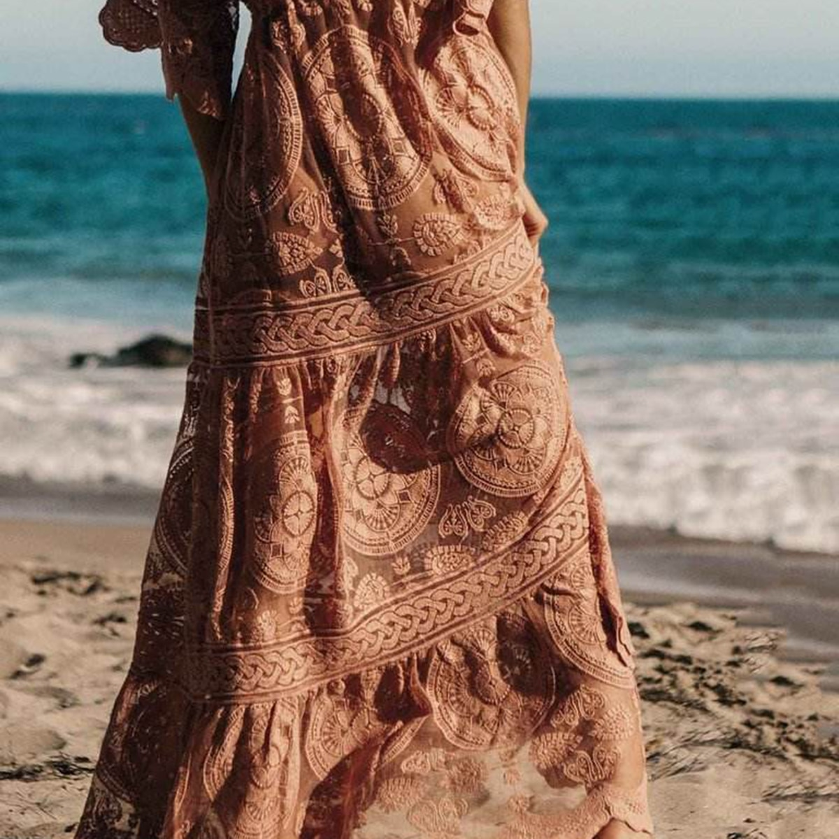 Mandala Black Orchid Maxi Dress Women 19 Summer Half Sleeve Deep V neck Sexy Dress Boho Lace Floral Embroidery Long Dress 3