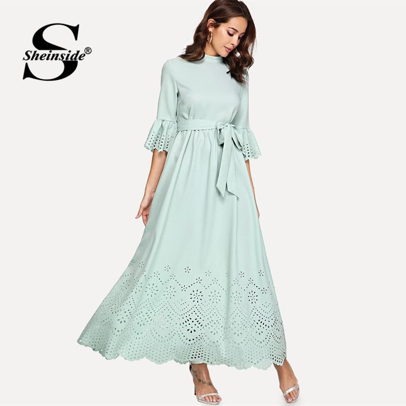 Sheinside Scalloped Hollow Out Half Sleeve Dress 19 Summer Elegant Flounce Sleeve Solid Maxi Dresses High Waist A Line Dress 3