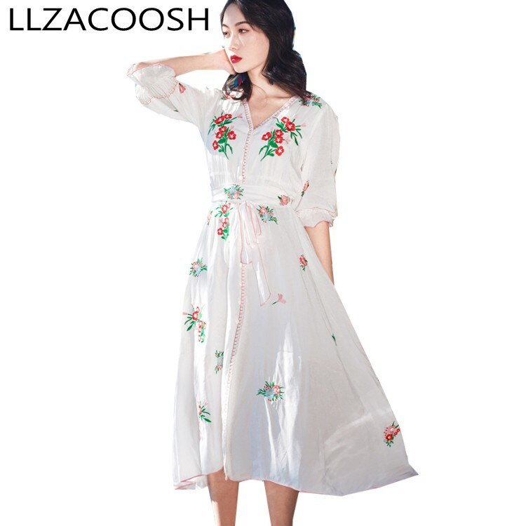 white cotton Embroidery Beach Dress 19 New Summer vintage Half Sleeve dresses Casual Holiday long dress 1