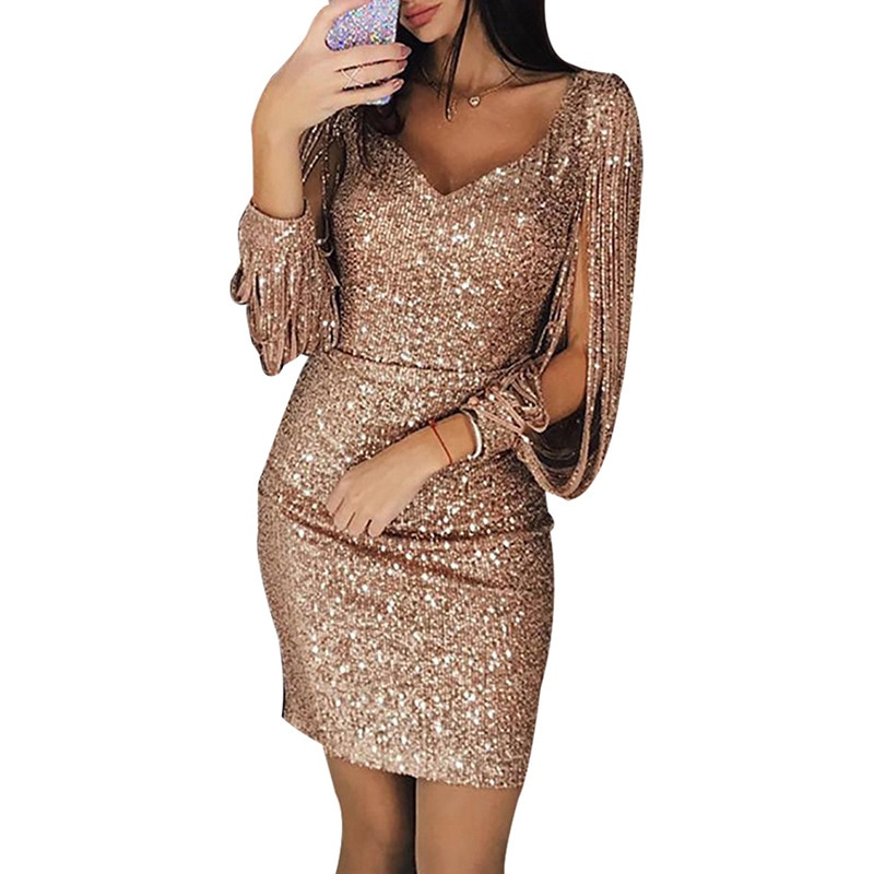 Sexy Women's V-neck Sparkling Tassels Long Sleeved Slim Bodycon Dress Sequined Club Mini Evening Party Dresses 3