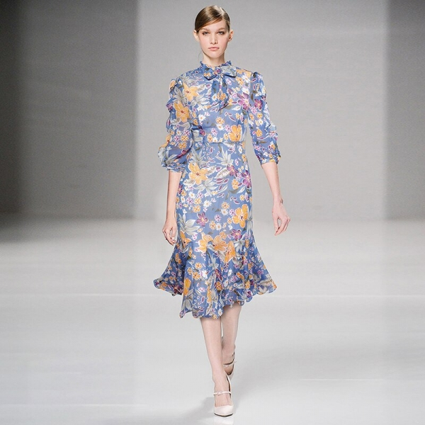HIGH QUALITY Newest Fashion Runway 19 Designer Dress Women's Half Sleeve Charming Floral Print Mermaid Dress