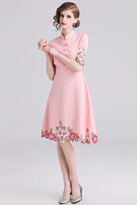 Comelsexy New Ladies Vintage Stand Collar Party Dress Spring Summer Midi Vestidos Women Pink Half Sleeve Embroidery Floral Dress 2
