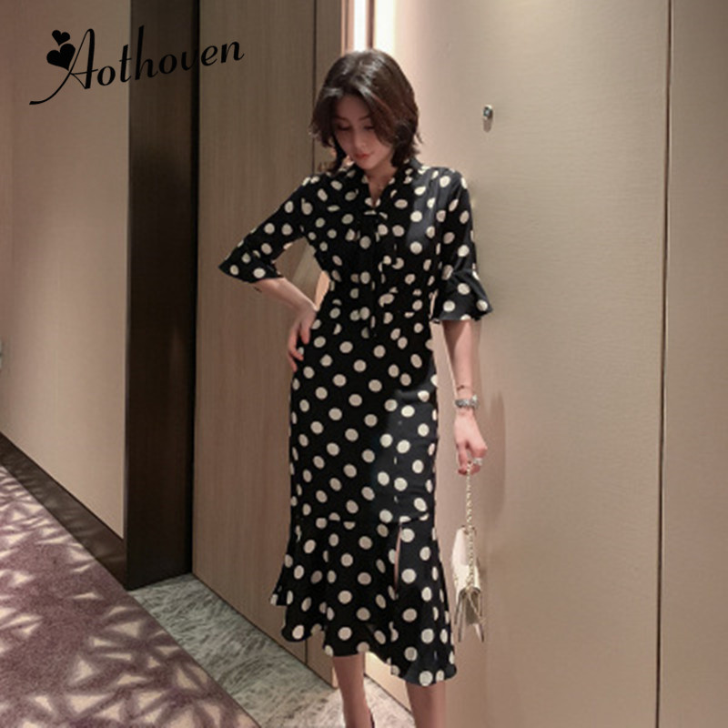 Summer High-end Fashion Women Dresses V Neck Half Sleeve Dot Mermaid Dress Elegant Bandage Sexy Party Midi Dress Elegant Vestido