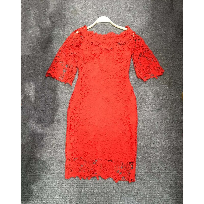 18 New Fashion Half Sleeve Lace Dress Summer Elegant Slash Neck Bodycon Sexy Red Women Party Bandage Dresses Vestido Wholesale 3