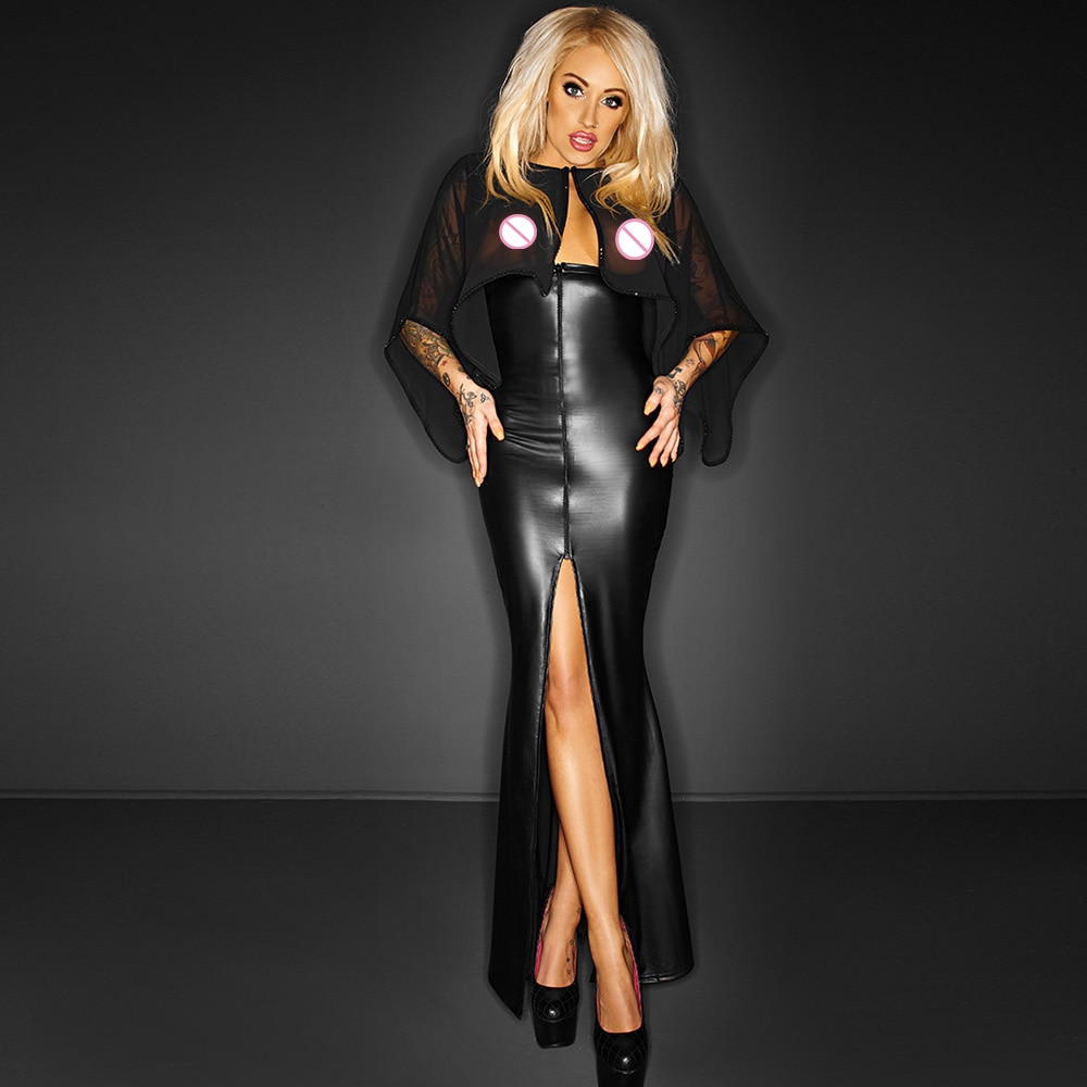 Long Maxi Mesh Dress Transparent Cape Wetlook Vinyl Leather Clubwear Gothic Black Split Bodycon Dresses Club Party Dresses Robe