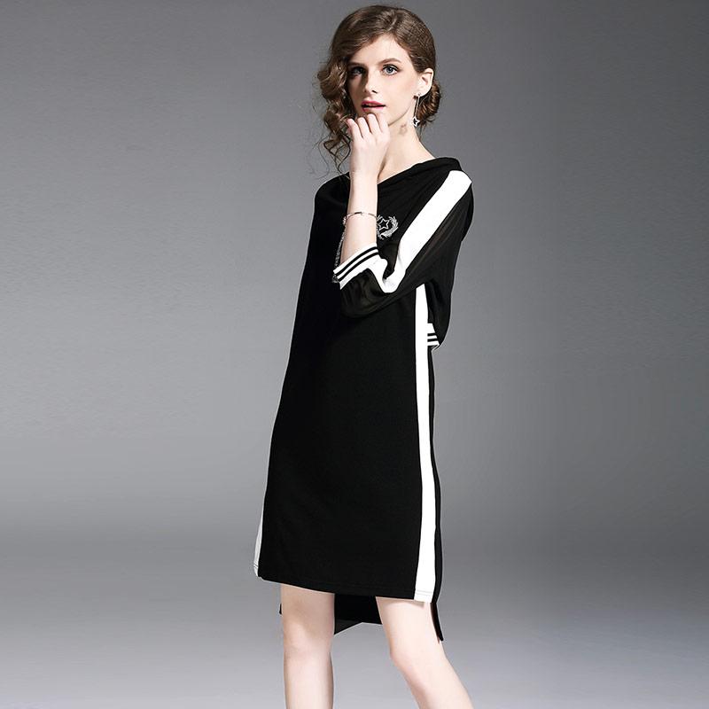 Willstage 18 Autumn Black Dresses Half sleeve Elegant Irregular Dress with hoodies Women Striped Patchwork Casual Vestidos 2