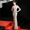 Evening Long Dress Sequins Shining V-neck Half Sleeve Formal Dress Women Floor-length Long Party Gowns Robe De Soiree New