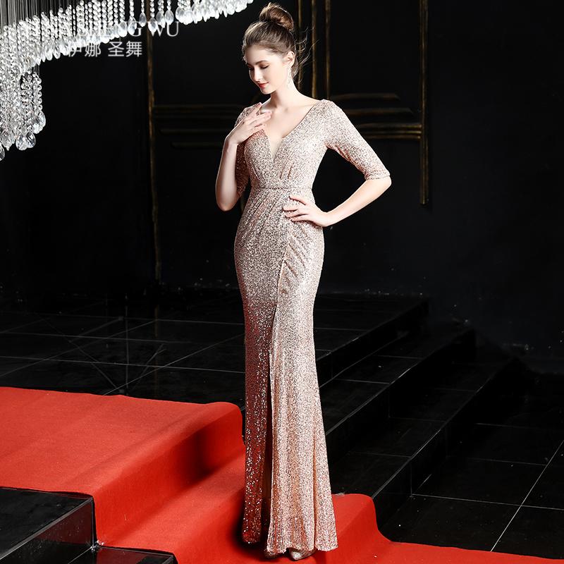 Evening Long Dress Sequins Shining V-neck Half Sleeve Formal Dress Women Floor-length Long Party Gowns Robe De Soiree New