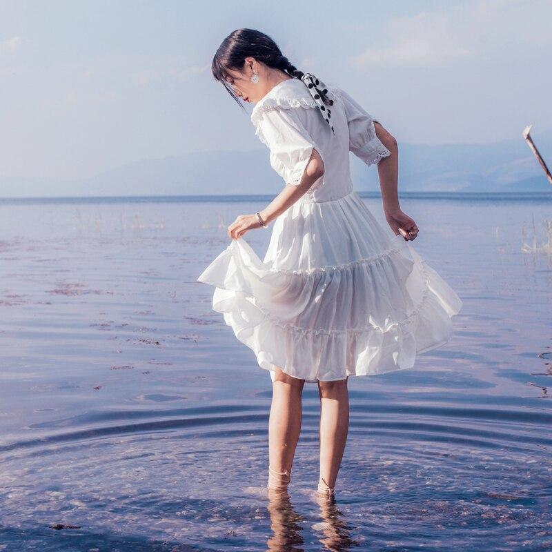 19 Summer New French Style Vintage Lace Side Elegant V Neck Half Sleeve White Dress Women Sundress Holiday Beach Dress Vestido 3