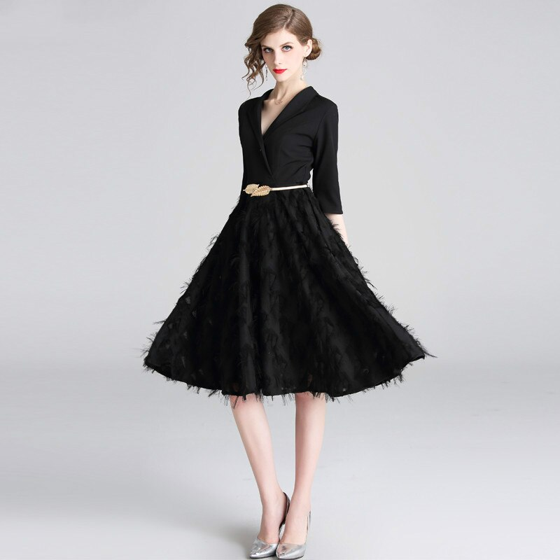 Feathers Patchwork Black A-line Office Dress 19 Spring Women Half Sleeve Notched Formal Dress Female Tassel Dress With Belt