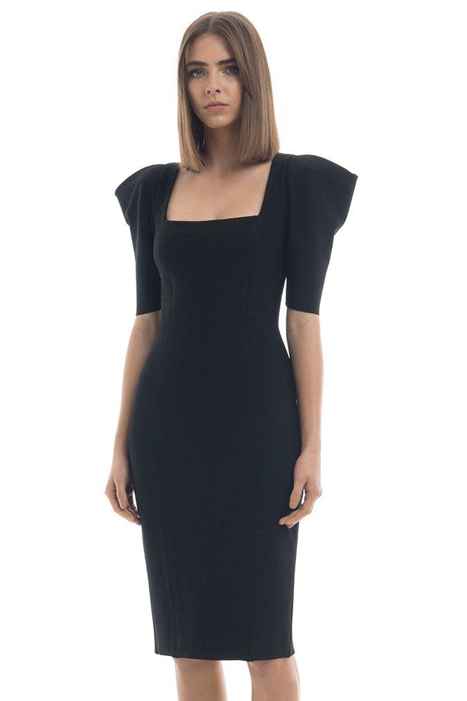 Summer Dress Women Sexy Half Sleeve Knee Length Black Bandage Dress 19 Ladies Designer Elegant Party Dress 1