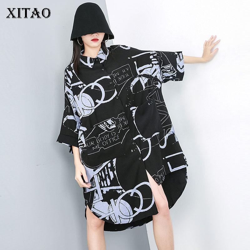 [XITAO] Casual Women Fashion 19 Summer Turn-down Collar Half Sleeve Loose Dress Female Irregular Button Mid-calf Dress ZQ1707 1