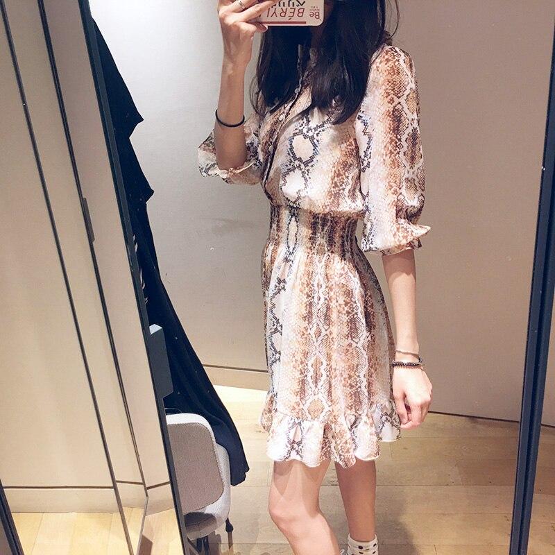 Women Mini Pleated Dress Snake Print Ruffle Half Sleeve Sweet Dress 2