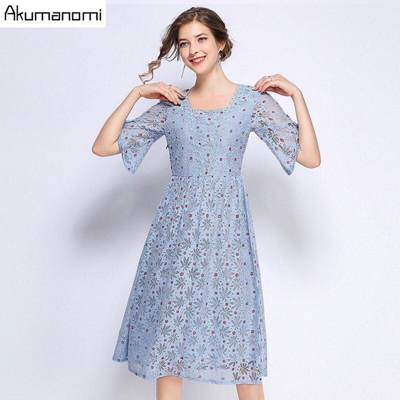 Summer Dress Women 19 Hot Plus Size 5xl Blue Square Collar Half Sleeve A-line Dot Lace Party Dress Vestidos Robe Longue Femme
