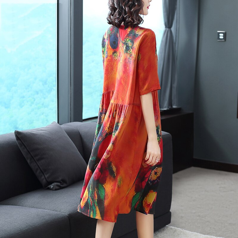 Plus Size Women Dresses Real Silk Clothes Loose Women Print Dresses New Pattern Half Sleeves Dress Lady Beach Casual Costume 2