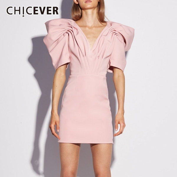 CHICEVER Casual Ruched Women's Dresses V Neck Puff Half Sleeve High Waist Mini Dress For Female 19 Fashion Clothing New Tide