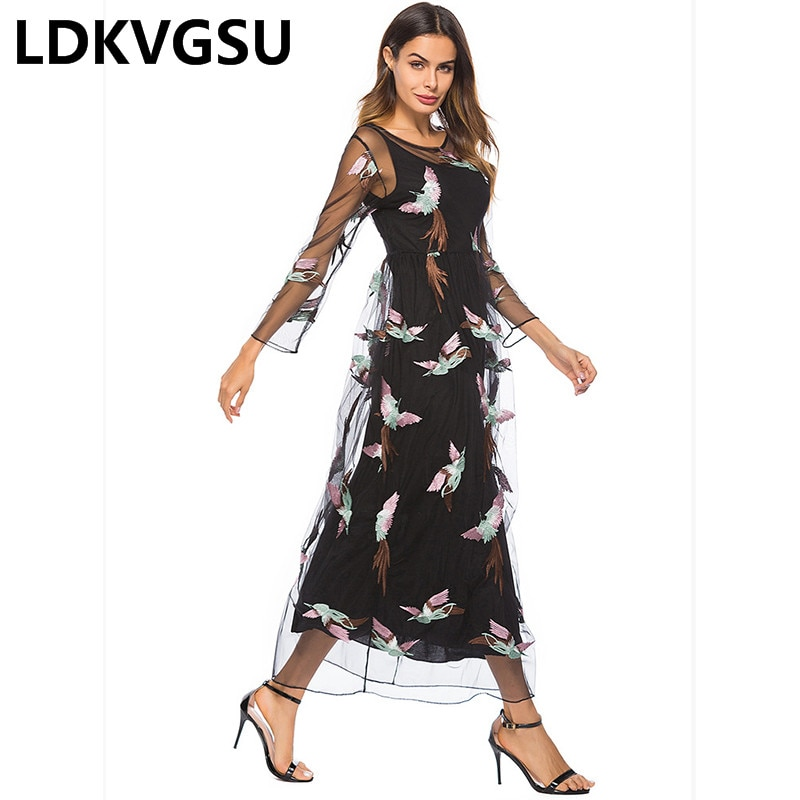 18 Spring Summer Women New Embroidery Lace Dress Half Sleeve Net Yarn 2Piece Set Black Dresses Large Size Women Is100 2