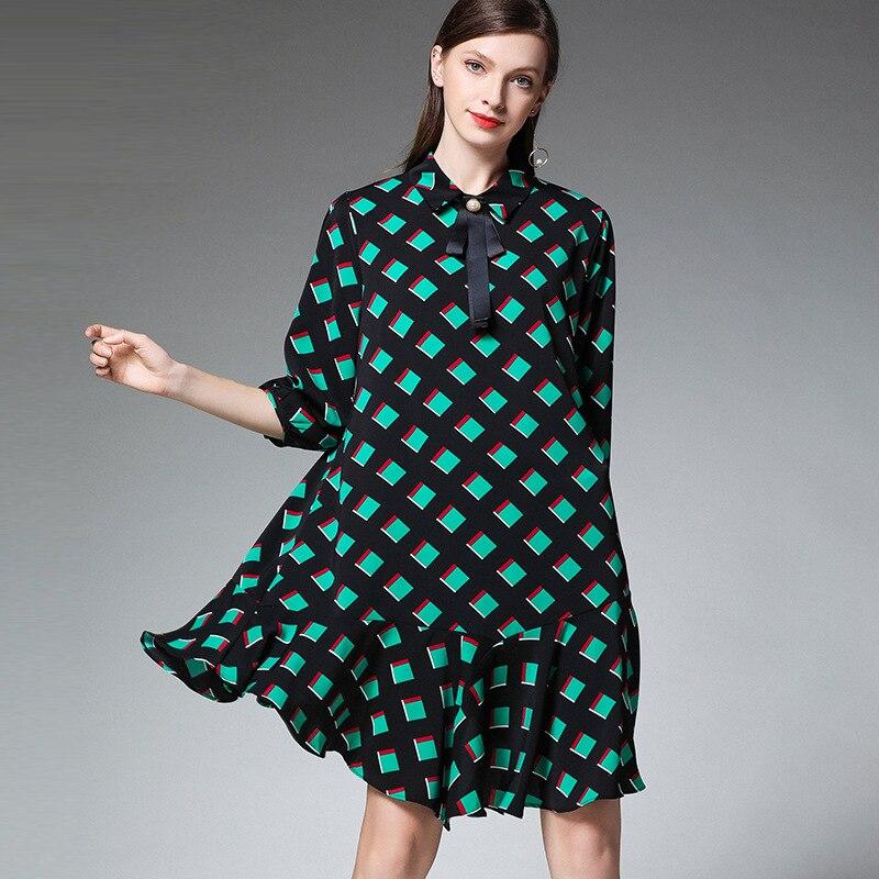 XL – 4XL Plus Size Chiffon Dress 19 Summer Dress Women Green Plaid Print Half Sleeve Loose Dress Elegant Ruffles Midi Dresses 2