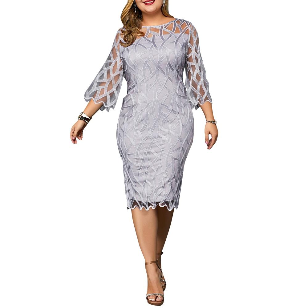 Autumn Plus Size Women Bodycon Midi Dress Solid Hollow Half Sleeve Vintage Beach Sexy Summer Large Size Party Lady Dress Vestido 1