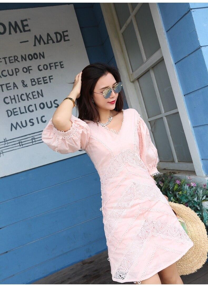 Runway Designer 19 Spring Summer Dresses Women Lace Embroidery Luxurious V-neck Half Sleeve Slim Party Dress Vestidos 3