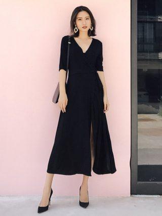 Sexy Women Lace Up Dress Ladies Half Sleeve Bodycon Waist Wrap Black Chiffon Split Party Dresses Female Vestidos Femininos