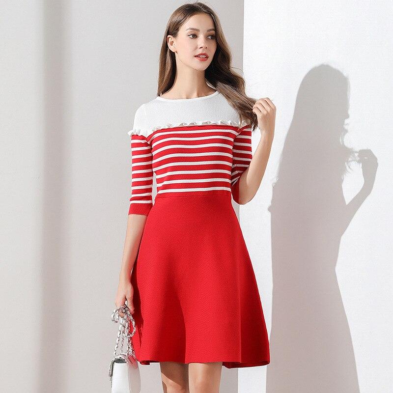 Women Dress Autumn and Winter Knitted Sweater Dresses Half Sleeve A-line Ruffles High Waist Striped Casual Dresses TS05 1