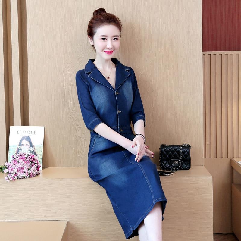 #2732 Spring Summer Half Sleeve Denim Dress Women Lapel Collar Slim High Waist Pencil Jeans Dresses Ladies Elegant Plus Size 5XL 2