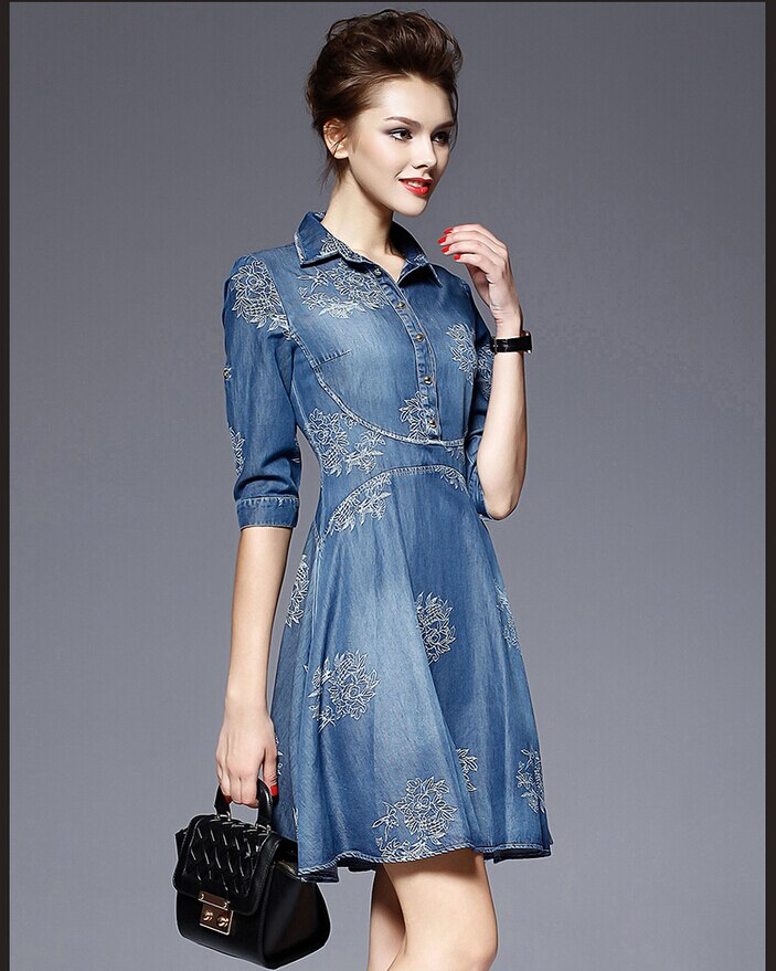 European Womens Jeans Dress Spring Summer Embroidered flowers Mini Denim Half Sleeve Dresses Vestido Femininos 2