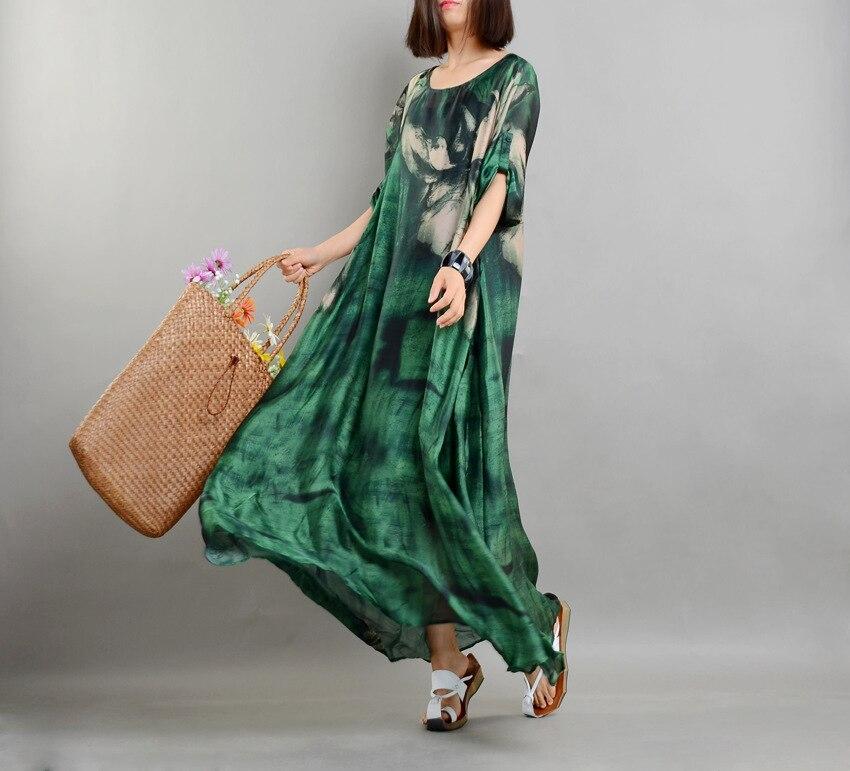 Real Chiffon Silk Runway Dress Women Summer Vintage Loose Printed Plus Size Dresses Top Quality Half Sleeves Vestidos with Slips 3