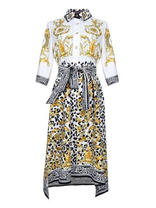 HIGH QUALITY New Fashion 19 Designer Runway Dress Women's Half Sleeve Retro Floral Print Dress